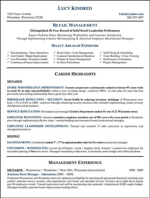 Resume Store Store Manager Resume Sample Retail Resume Customer Resume Was  Written Or Critiqued By A